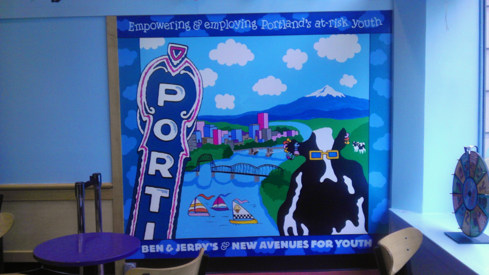 Ben & Jerry's Ice Cream, interior mural, Downtown Portland