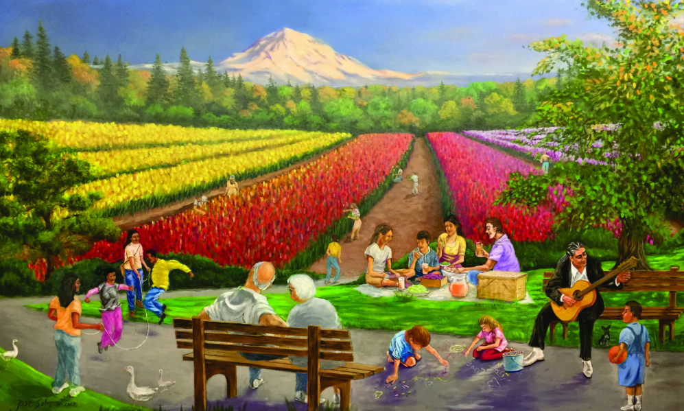 """Valley of Tulips"" mural at Lancaster Family Clinic, Salem Oregon"